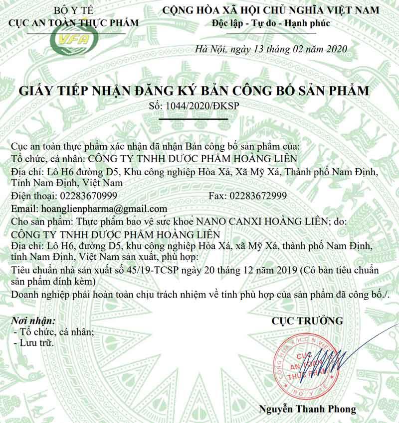 Giấy xác nhận công bố Nano Canxi Hoàng Liên do Cục ATTP - Bộ Y tế cấp
