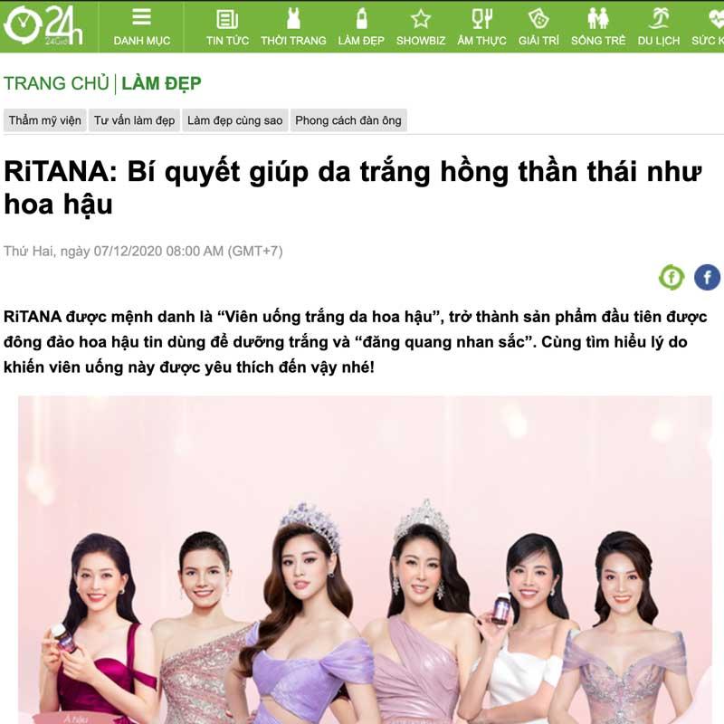 Hình chụp Trang tin 24h đăng về RiTANA