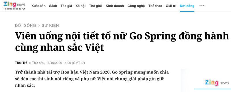 Trang tin Zingnews - Viên uống nội tiết tố nữ Go Spring đồng hành cùng nhan sắc Việt
