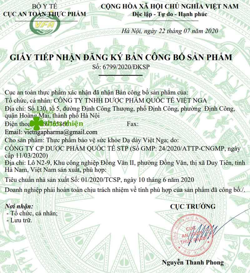 Giấy xác nhận công bố Dạ Dày Việt Nga do Cục ATTP - Bộ Y tế cấp