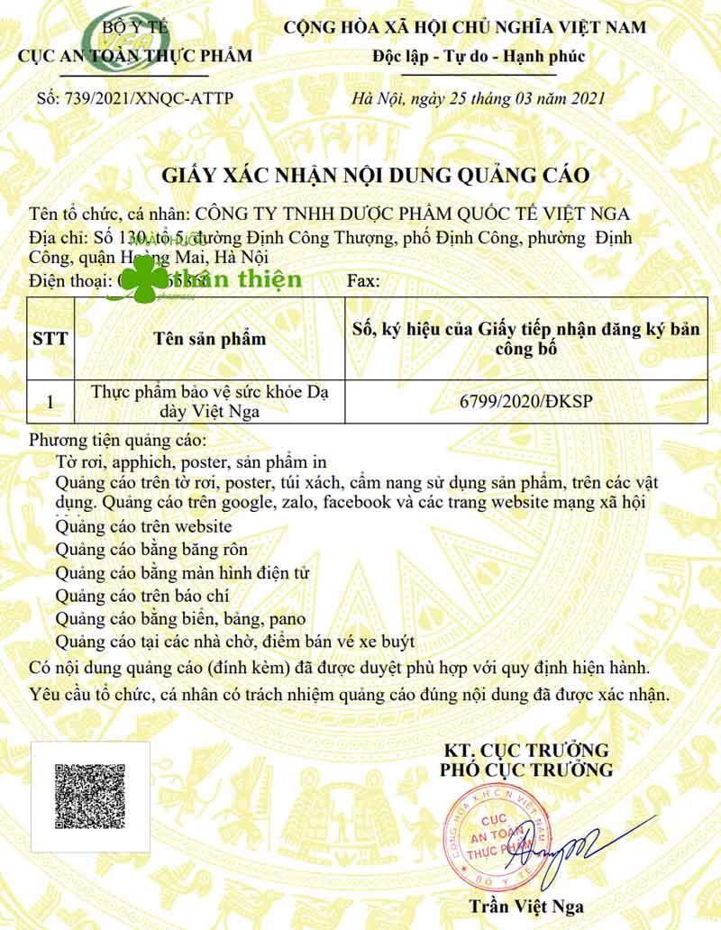 Giấy xác nhận quảng cáo Dạ Dày Việt Nga do Cục ATTP - Bộ Y tế cấp
