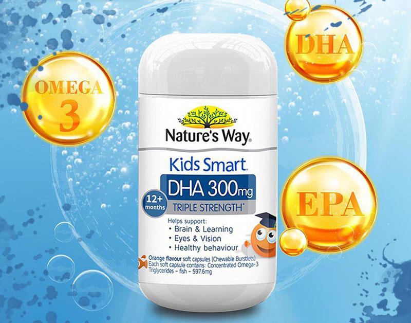 Nature's Way Kids Smart DHA 300mg Triple Strength, hỗ trợ phát triển toàn diện hệ thần kinh ở trẻ