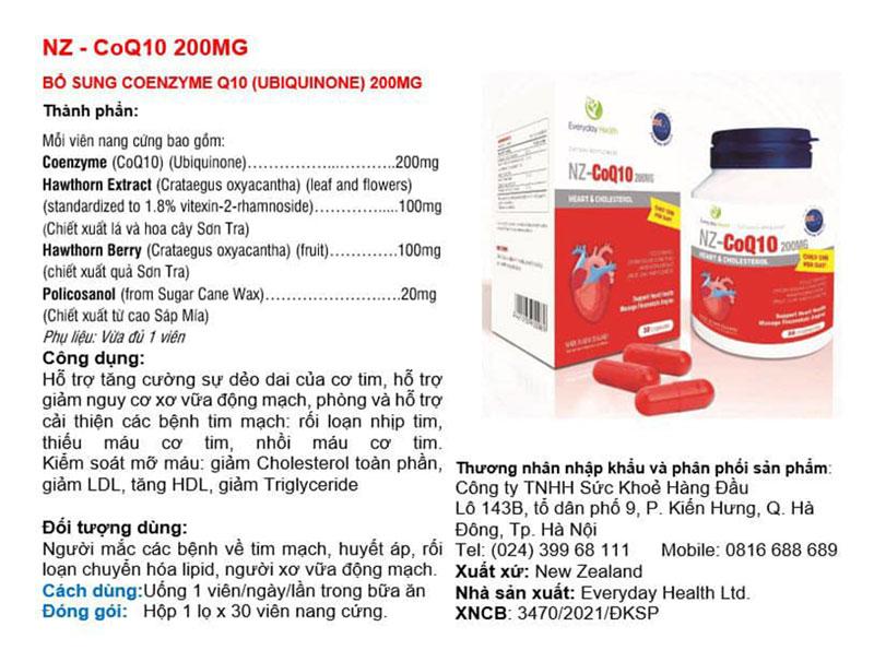 NZ-CoQ10 200mg, hỗ trợ tăng cường sự dẻo dai của cơ tim, mỡ máu