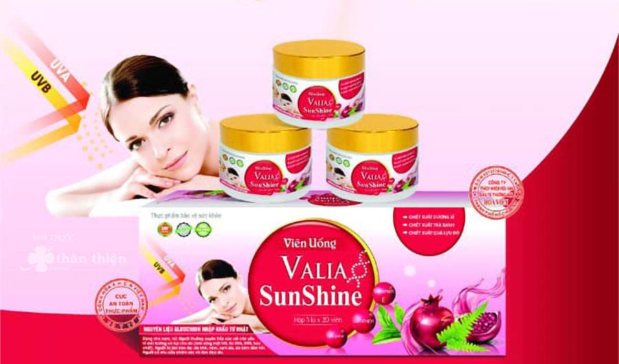 Viên uống Valia SunShine, hỗ trợ tăng tính đàn hồi cho da và giảm nguy cơ nám sạm da