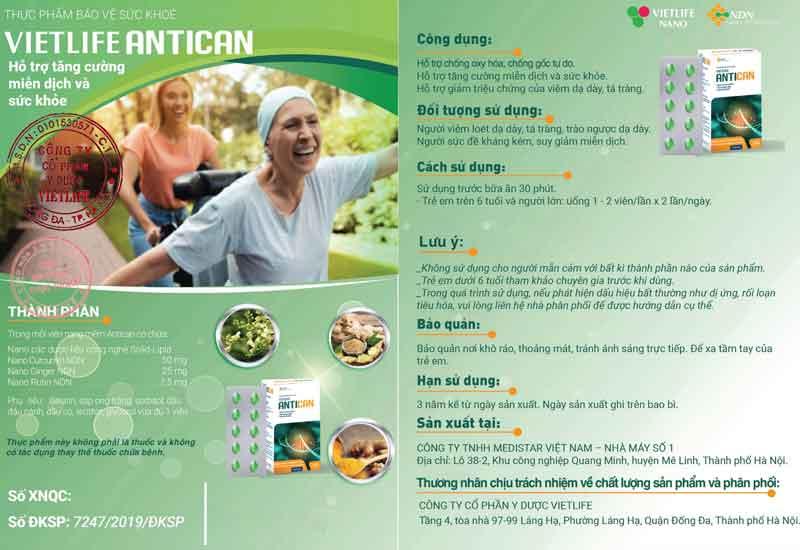Tờ rơi xác nhận quảng cáo do Cục ATTP - Bộ Y tế cấp phép cho Vietlife Antican