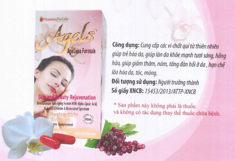 Viên uống Agels Vitamin For Life, hỗ trợ ngăn ngừa thâm nám, tăng độ đàn hồi cho da