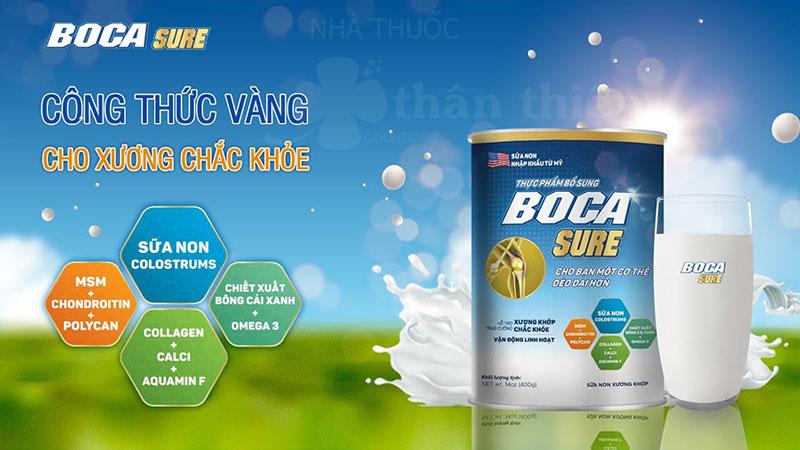 Sữa Boca Sure, hỗ trợ ngăn ngừa loãng xương, teo cơ