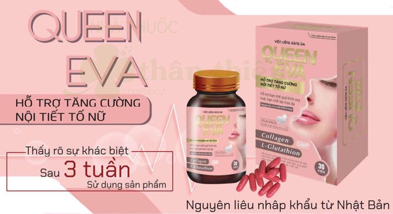 Viên uống sáng da Queen Eva, hỗ trợ tăng cường nội tiết tố nữ
