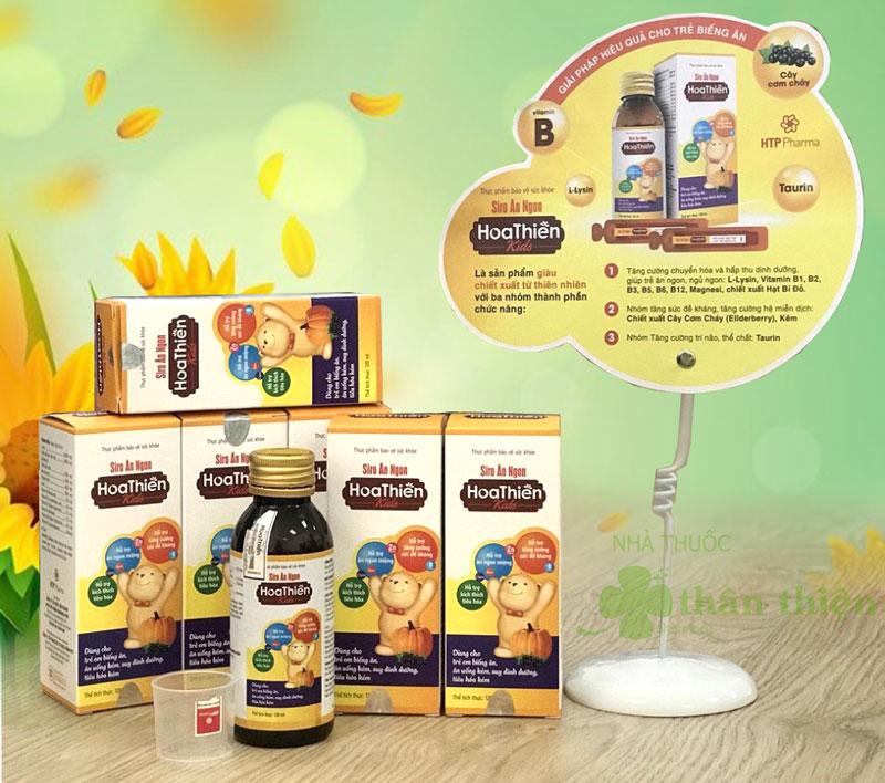 Hình ảnh thực tế Siro Ăn Ngon Hoa Thiên Kids đang bán trên thị trường