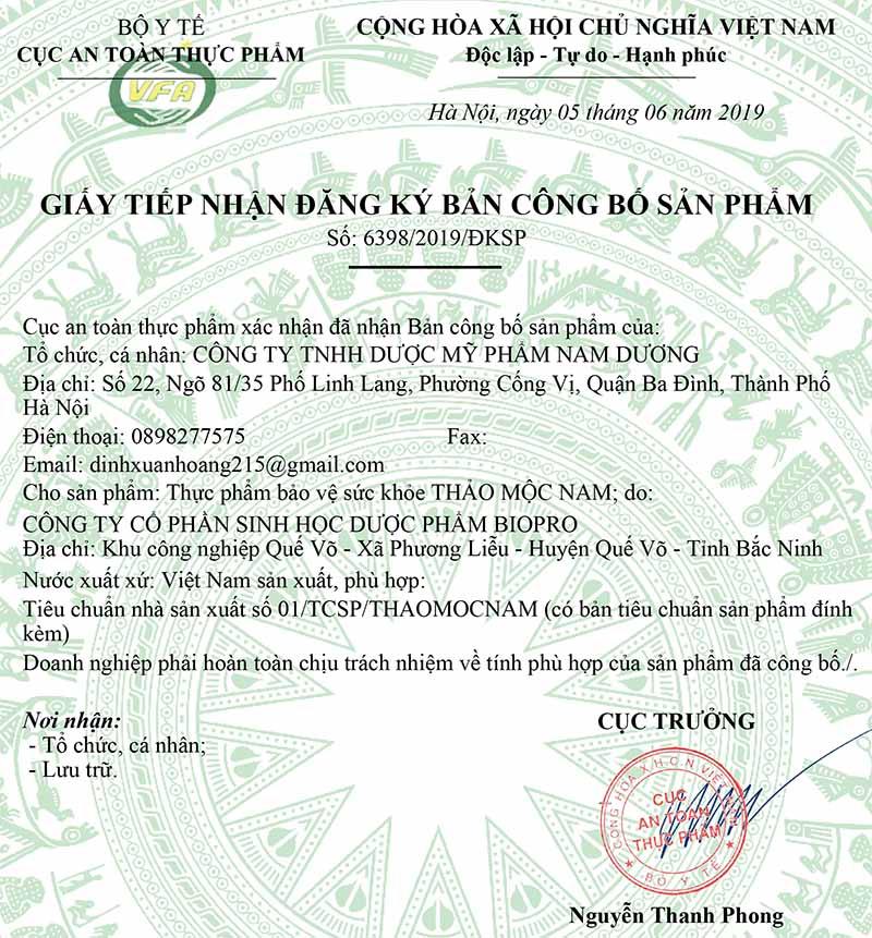 Giấy xác nhận đăng ký công bố của Thảo Mộc Nam