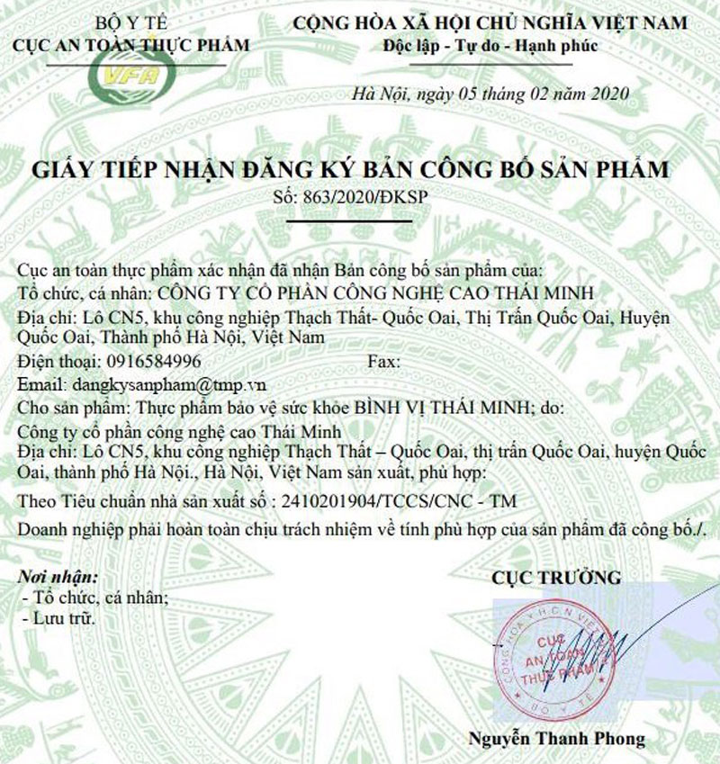 Giấy xác nhận công bố sản phẩm Bình Vị Thái Minh do cục ATTP - Bộ Y tế cấp