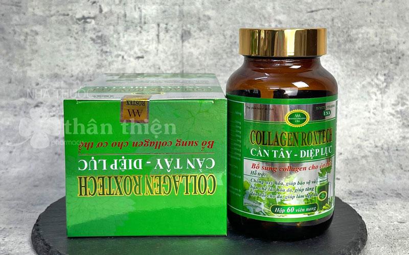 Collagen Roxtech Cần Tây - Diệp Lục, hạn chế lão hóa da, giúp tăng đàn hồi cho da