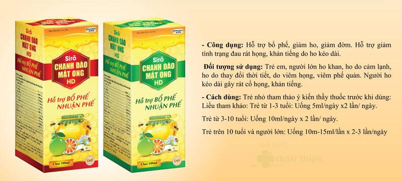 Siro Chanh Đào Mật Ong HD, hỗ trợ bổ phế, giảm ho, khàn tiếng