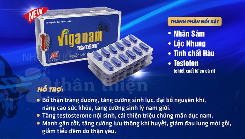 Viganam Tâm Bình, hỗ trợ tăng cường testosterone nội sinh, tăng cường sinh lý