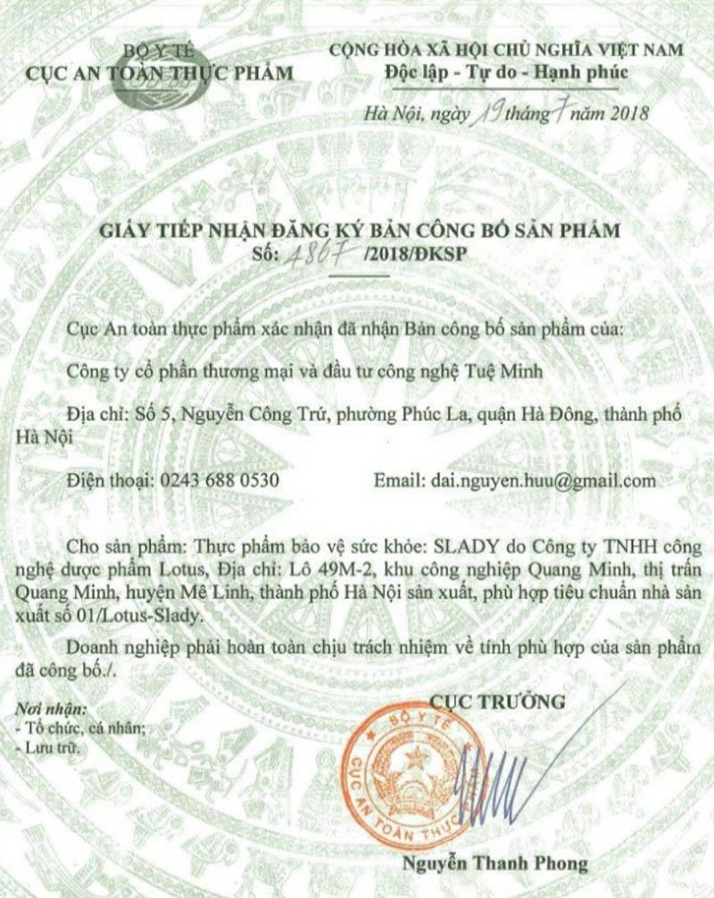 Giấy xác nhận công bố của Viên uống Slady