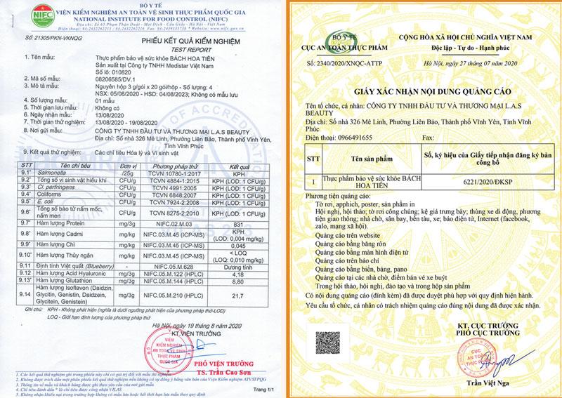 Giấy xác nhận quảng cáo và giấy xét nghiệm của Bách Hoa Tiên do Cục ATTP - Bộ Y tế cấp