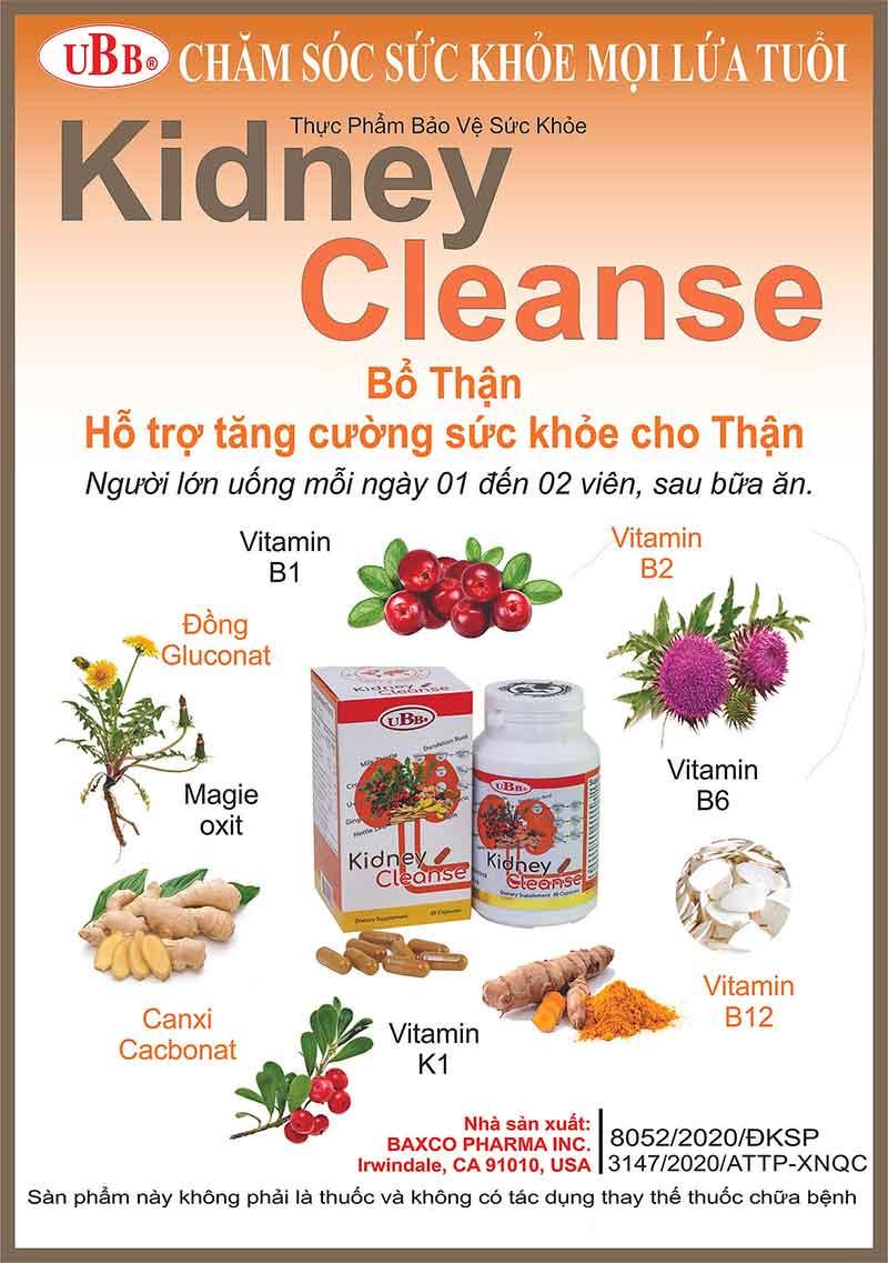 UBB® Kidney Cleanse, hỗ trợ bổ thận và hỗ trợ tăng cường sức khỏe thận