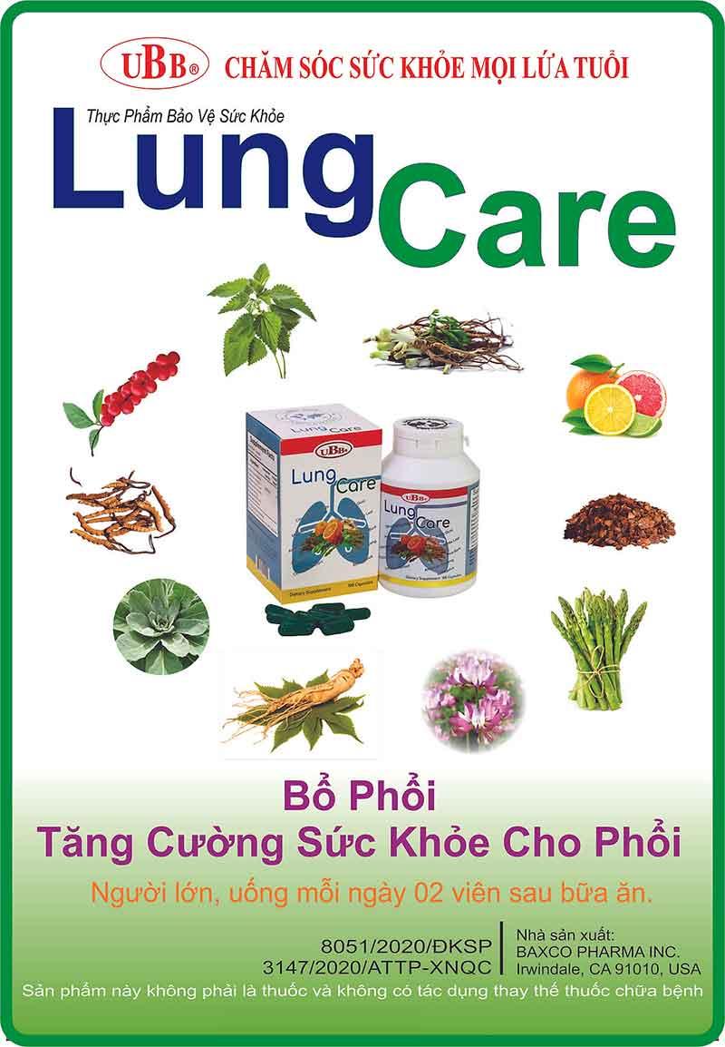 UBB® Lung Care, hỗ trợ bổ phổi và hỗ trợ tăng cường sức khỏe phổi